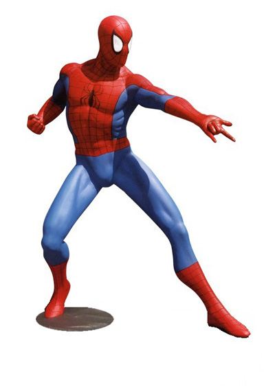 Spiderman Comic w/ Silver Base Lifesize