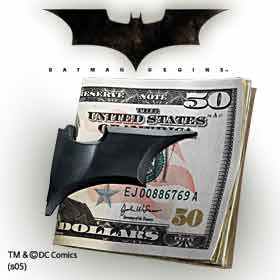 Batman Batarang Folding Money Clip-Black Satin